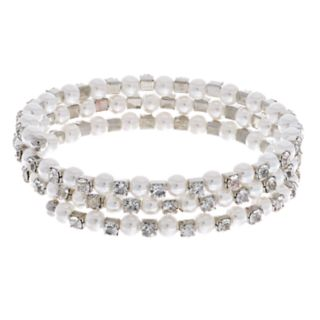 LC Lauren Conrad Simulated Pearl & Crystal Coil Bracelet