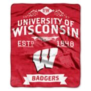 Wisconsin Badgers Label Raschel Throw by Northwest