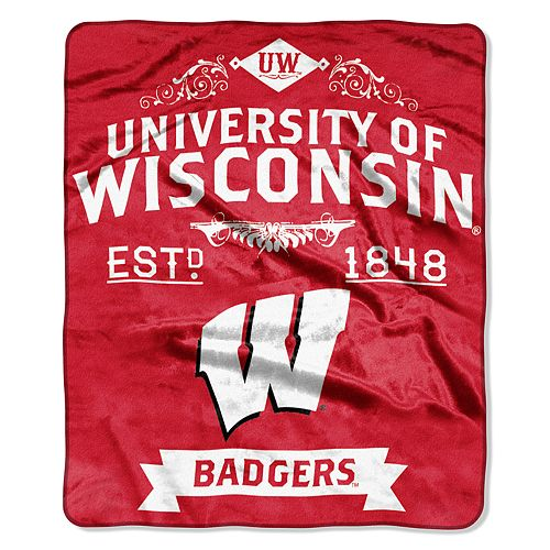 Wisconsin Badgers Label Raschel Throw by Northwest