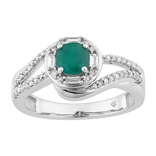 10k White Gold Emerald & 1/4 Carat T.W. Diamond Swirl Ring