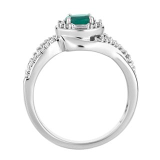 10k White Gold Emerald & 1/4 Carat T.W. Diamond Swirl Ring