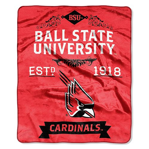 Ball State Cardinals Label Raschel Throw by Northwest