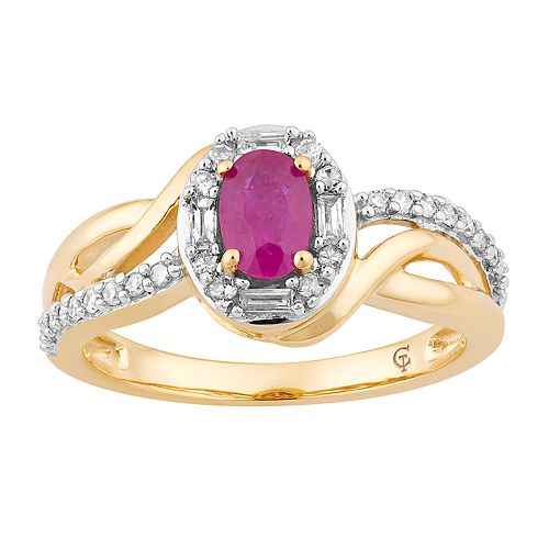 10k Gold Ruby & 1/4 Carat T.W. Diamond Swirl Ring