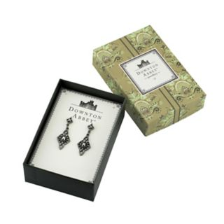 Downton Abbey Jet Tone Simulated Crystal Drop Earrings