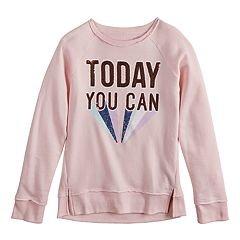 Girls 7-16 SO® Sequined 'Now You Can' Sweatshirt