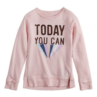 """Girls 7-16 SO® Sequined """"Now You Can"""" Sweatshirt"""