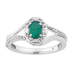 10k White Gold Emerald & 1/4 Carat T.W. Diamond Oval Halo Ring
