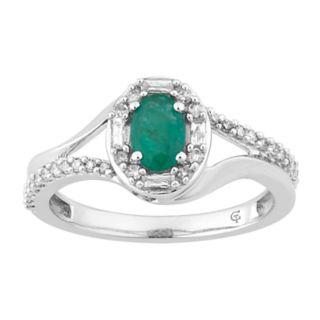 10k White Gold Emerald & 1/4 Carat T.W. Diamond Oval Halo Ring