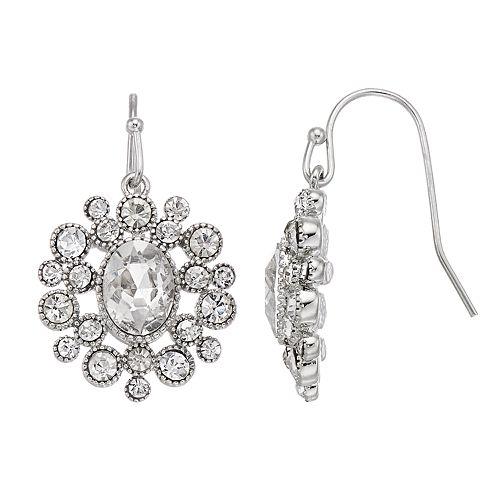 LC Lauren Conrad Simulated Crystal Nickel Free Circle Drop Earrings