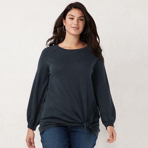 6ffdc2cb62c2e Plus Size LC Lauren Conrad Tie-Front Sweatshirt