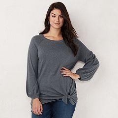 Plus Size LC Lauren Conrad Tie-Front Sweatshirt