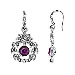 Downton Abbey Purple Simulated Crystal Drop Earrings