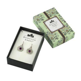 Downton Abbey Purple Simulated Crystal Drop Earrings