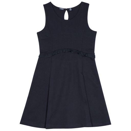 Girls 4-16 Chaps School Uniform Ruffled French Terry Jumper