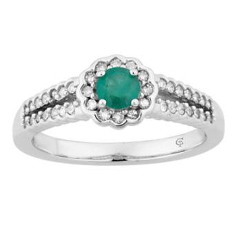 10k White Gold Emerald & 1/4 Carat T.W. Diamond Flower Ring