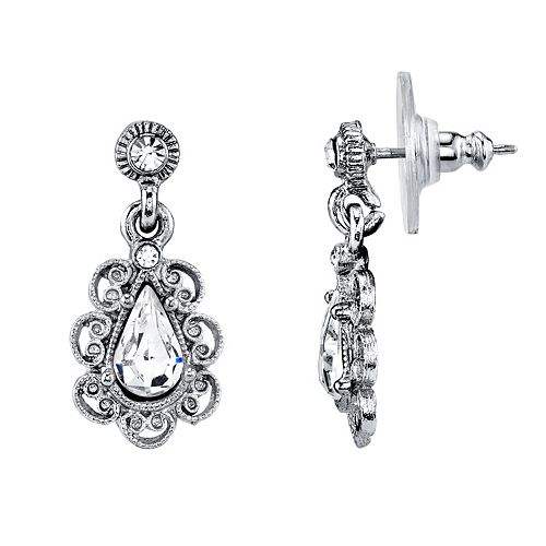 Downton Abbey Simulated Crystal Teardrop Earrings