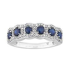 10k White Gold Sapphire & 1/4 Carat T.W. Diamond 6-Stone Ring