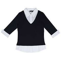 Girls 4-16 School Uniform 3/4-Sleeve Layered Top