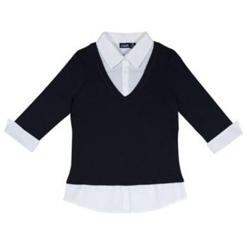 Girls 4-16 School Uniform 3/4-Sleeve Layered Top