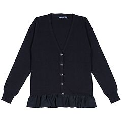 Girls 4-16 Chaps School Uniform Ruffled Cardigan Sweater