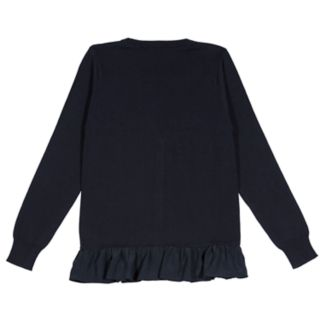 Girls 4-16 Chaps School Uniform Ruffled Cardigan Sweater