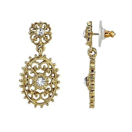 Downton Abbey Simulated Crystal Filigree Drop Earrings