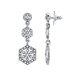 Downton Abbey Simulated Crystal Hexagon Linear Drop Earrings