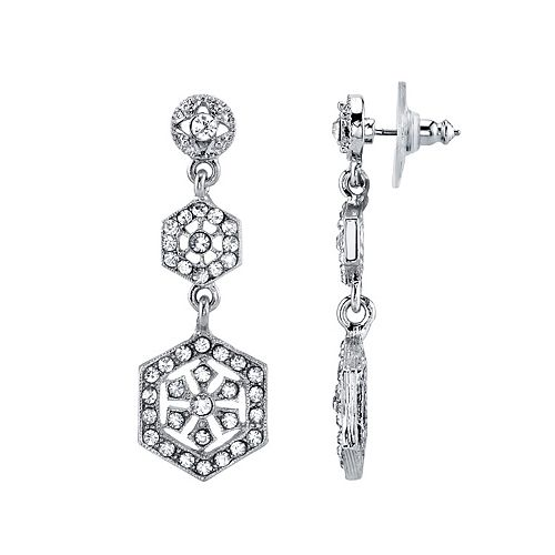 Downton Abbey Simulated Crystal Hexagon Linear Drop Earrings