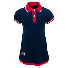 Baby Girl New England Patriots Mock-Layered Polo Dress
