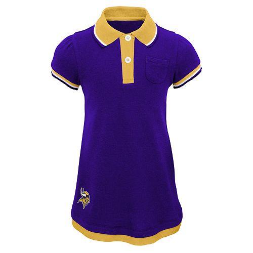 Toddler Girl Minnesota Vikings Mock-Layered Polo Dress