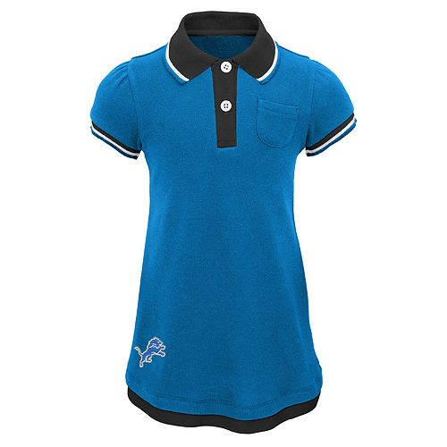 Toddler Girl Detroit Lions Mock-Layered Polo Dress