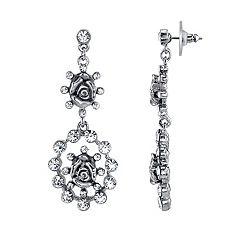 1928 Simulated Crystal & Rose Drop Earrings