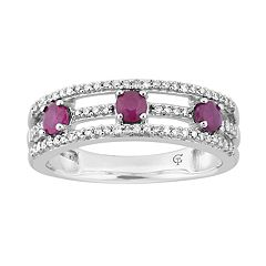 10k White Gold Ruby & 1/5 Carat T.W. Diamond 3-Stone Ring