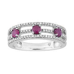 10k White Gold Ruby & 1/5 Carat T.W. Diamond 3-Stone Ring