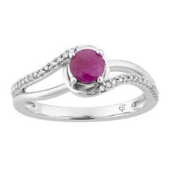 10k White Gold Ruby & 1/8 Carat T.W. Diamond Swirl Ring