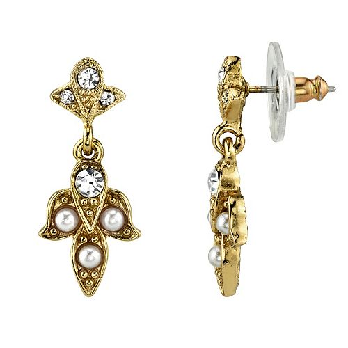 Downtown Abbey Simulated Crystal & Simulated Pearl Drop Earrings
