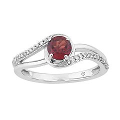 10k White Gold Garnet & 1/8 Carat T.W. Diamond Swirl Ring