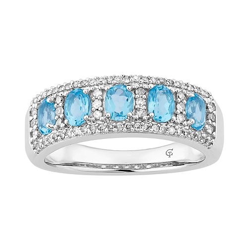 10k White Gold Swiss Blue Topaz & 1/4 Carat T.W. Diamond 5-Stone Ring