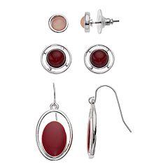 Red Nickel Free Stud & Drop Earring Set