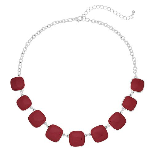 Red Square Link Statement Necklace