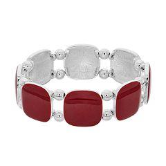 Red Square Cabochon Stretch Bracelet