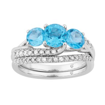 10k White Gold Swiss Blue Topaz & 3/8 Carat T.W. Diamond 3-Stone Ring