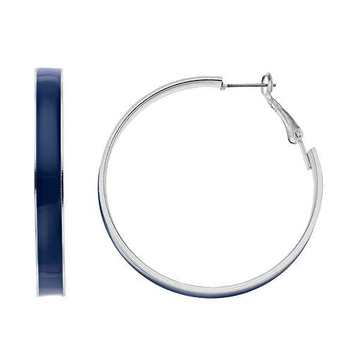 Blue Nickel Free Hoop Earrings
