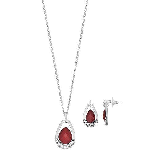 Shimmer Teardrop Necklace & Earring Set