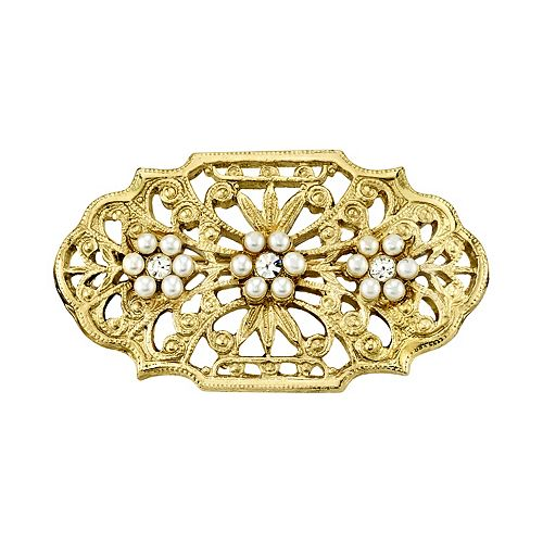 Downtown Abbey Gold Tone Filigree Simulated Crystal Pin