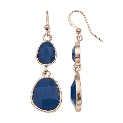 Blue Double Drop Earrings