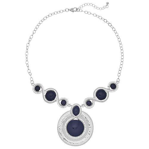Blue Circle Pendant  Necklace