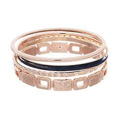 Hammered Bangle Bracelet Set