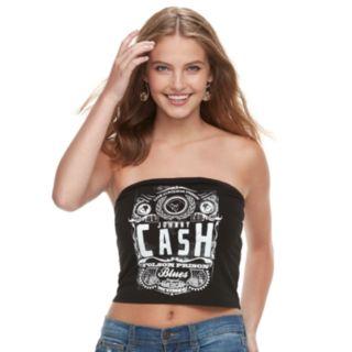 Juniors' THE PRINT SHOP Johnny Cash Tube Top