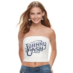 Juniors' THE PRINT SHOP Johnny Cash Tube Top